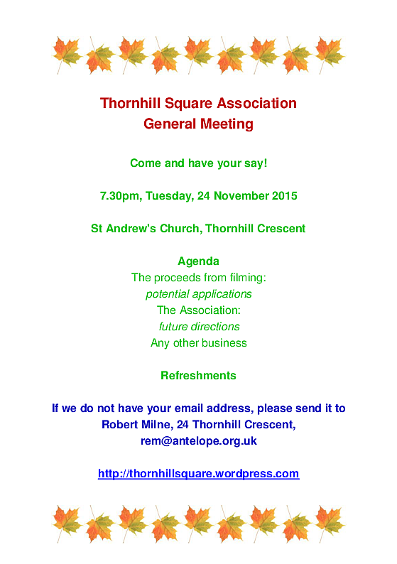 Thornhill Square General Meeting November 2015